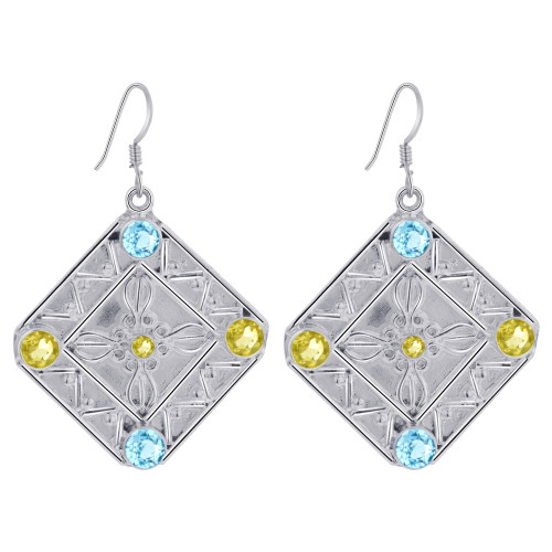 925 Sterling Silver Citrine Blue Topaz Bali Design Drop Earrings for women