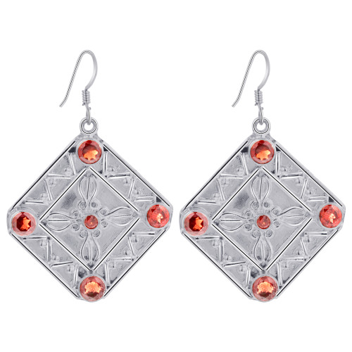 925 Sterling Silver Garnet Gemstones Bali Design Drop Earrings for women