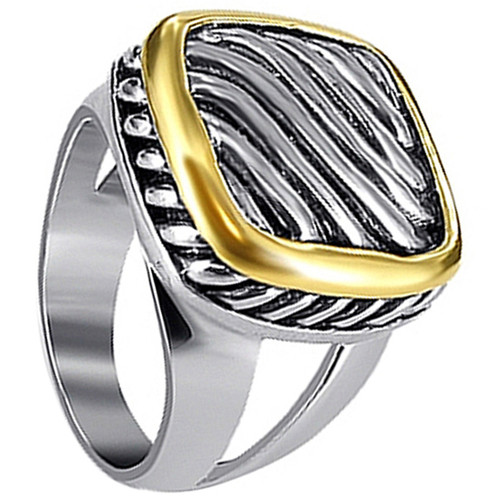925 Sterling Silver Strip Gold Tone Accent Ring #PGRS013