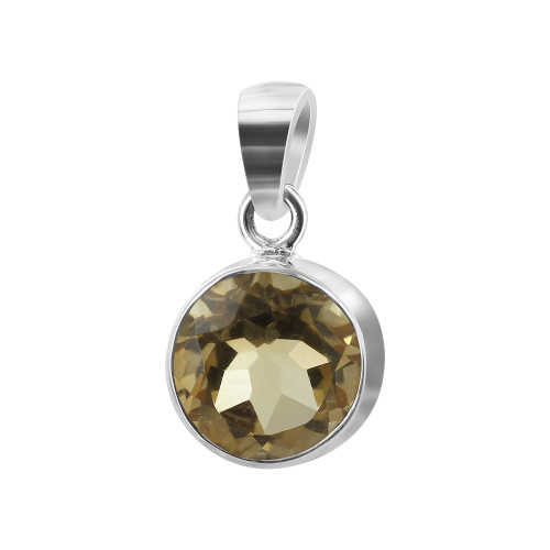 925 Sterling Silver 8mm Round Citrine Gemstone Pendant