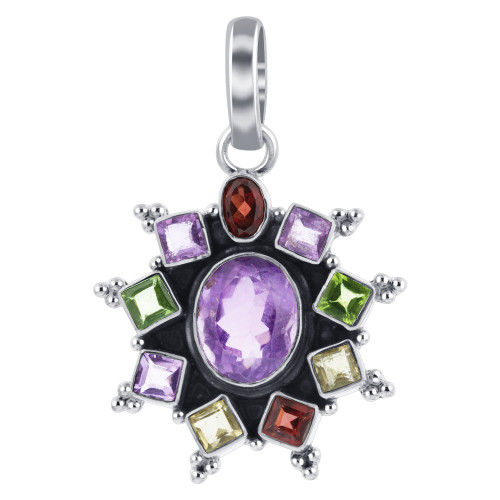 925 Sterling Silver Flower Shape Gemstone Bali Design Pendant with Multistone