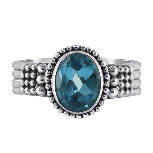 Sterling Silver Blue Topaz Gemstone Solitaire Ring
