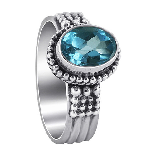 925 Sterling Silver Blue Topaz Gemstone Solitaire Women's Ring