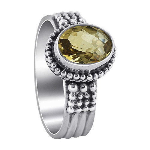 925 Sterling Silver Citrine Gemstone Solitaire Women's Ring