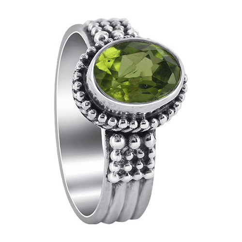 925 Sterling Silver Oval Peridot Gemstone Solitaire Women's Ring