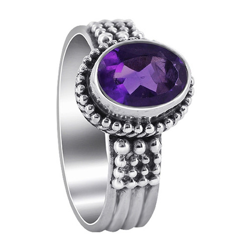 925 Sterling Silver Oval Amethyst Gemstone Solitaire Women's Ring