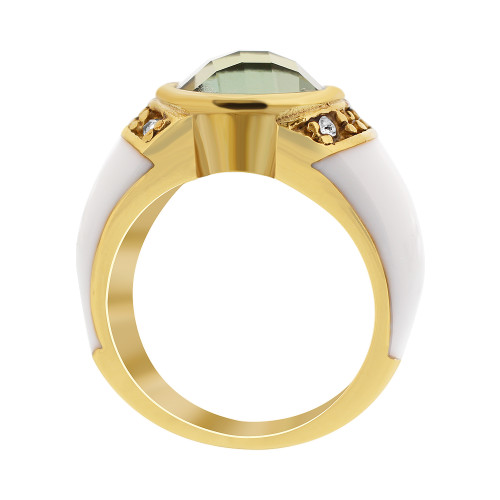 Stainless Steel White Enamel with Solitaire with Accents CZ Ring