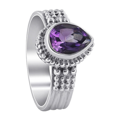 925 Sterling Silver Amethyst Gemstone Solitaire Women's Ring