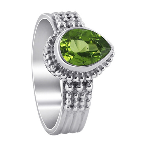 925 Sterling Silver Peridot Gemstone Solitaire Women's Ring