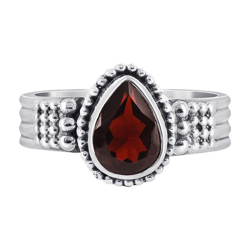 Garnet Gemstone Solitaire Womens Ring