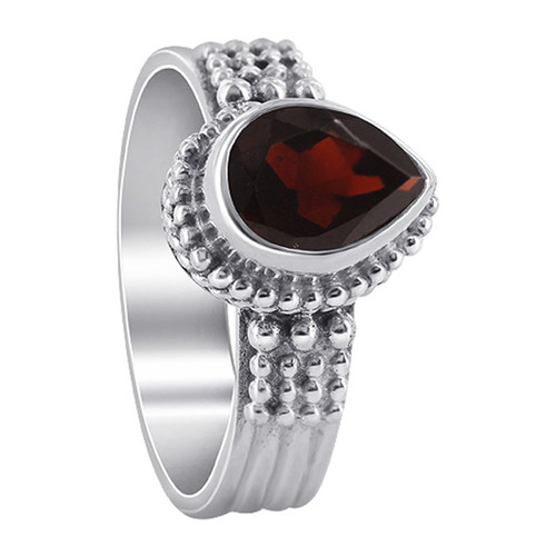 925 Sterling Silver Garnet Gemstone Solitaire Women's Ring