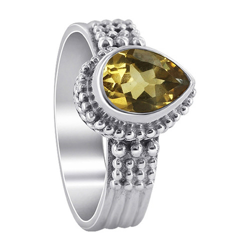 Citrine Gemstone Solitaire 925 Sterling Silver Women's Ring