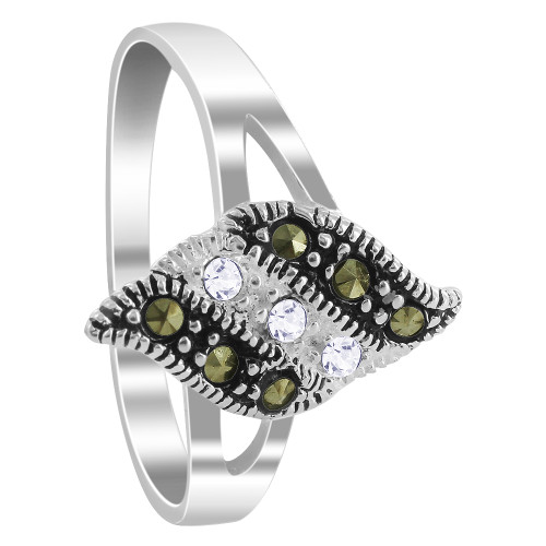 925 Silver 1mm Clear Cubic Zirconia & Marcasite Ring