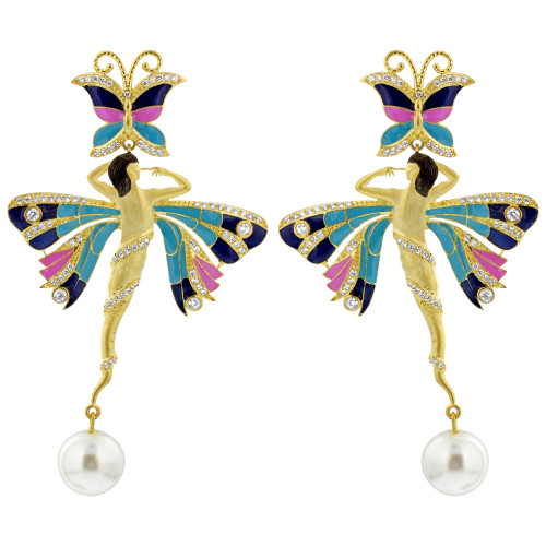 Gold Plated Multi Enamel Ballerina Designer Bollywood Indian Dangle Earrings For Women