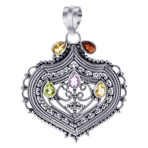 925 Sterling Silver Bali Style Jewelry Amethyst, Peridot and Citrine Gemstone Pendant