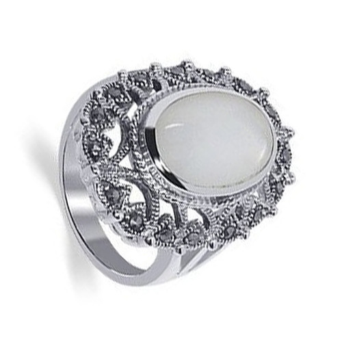 925 Sterling Silver Oval Mother of Pearl with Marcasite Ring
