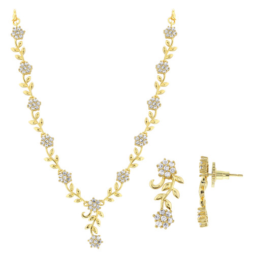 Gold Plated Cubic Zirconia Flower and Leaf Design Necklace Earrings Set