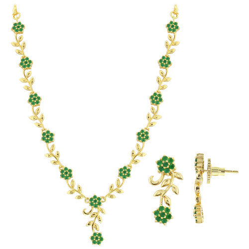 Gold Plated Simulated Emerald Flower and Leaf Design Necklace Earrings Set