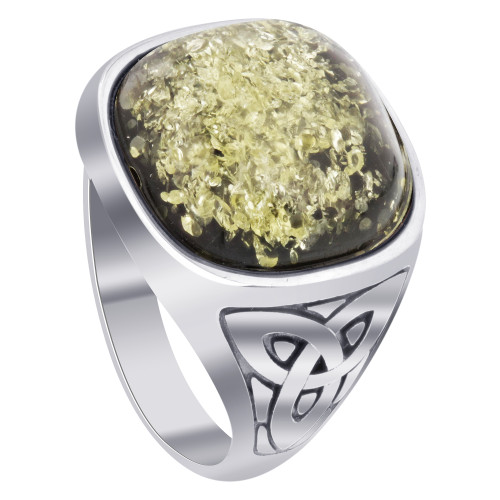925 Sterling Silver and Baltic Green Amber Men's Ring