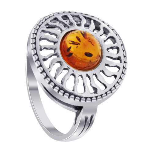 925 Sterling Silver Natural Orange Baltic Amber Women's Sun Set Ring Size 7