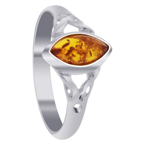 925 Sterling Silver Natural Orange Baltic Amber Celtic Marquise Women's Ring Size 5