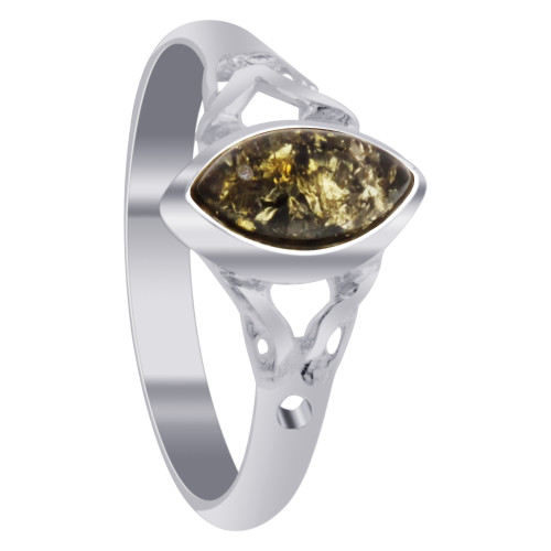 925 Sterling Silver Natural Green Baltic Amber Celtic Marquise Women's Ring Size 7