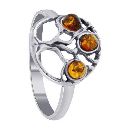 Genuine Baltic Amber & Sterling Silver Tree of Life Women's Rings Size 8