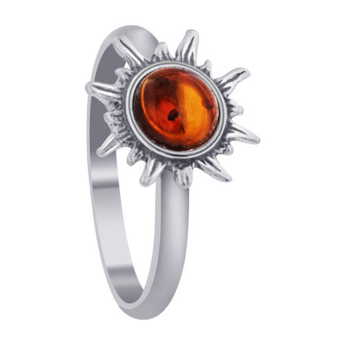 Genuine Baltic Amber & 925 Sterling Silver Sun Women's Rings Size 8
