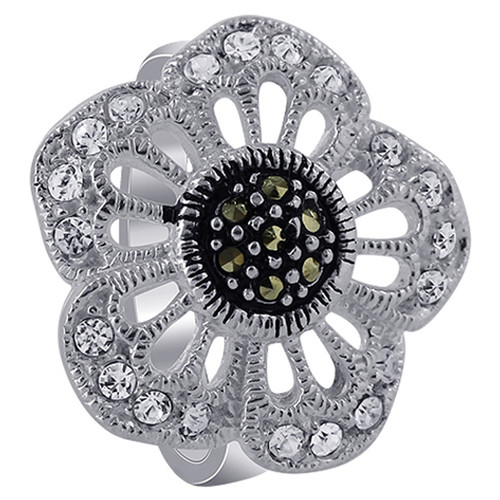 925 Silver Clear CZ Flower with Marcasite Ring