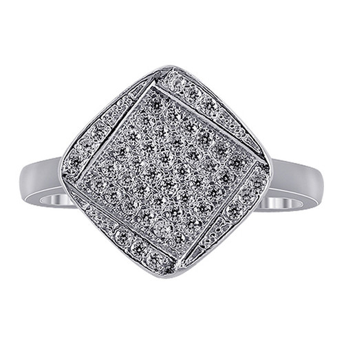 Sterling Silver Cubic Zirconia Micro Pave Set Ring