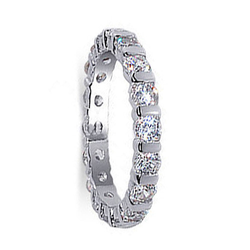 925 Sterling Silver Cubic Zirconia 3mm Eternity Band Women's Ring