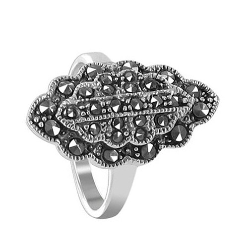925 Sterling Silver 22 x 11mm Marcasite Floral Design Ring