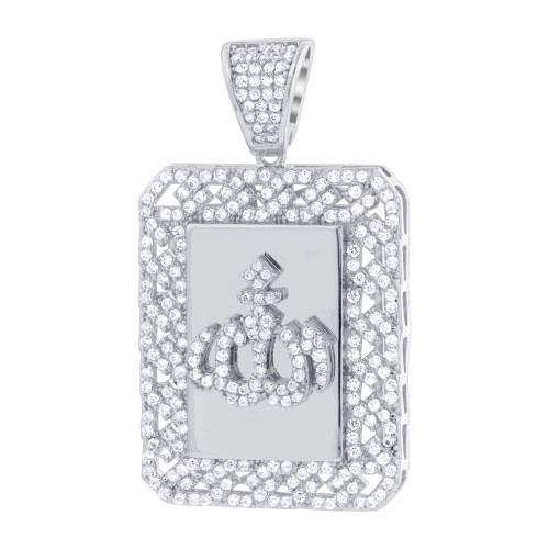 925 Sterling Silver Rhodium Plated Cubic Zirconia Allah pendant