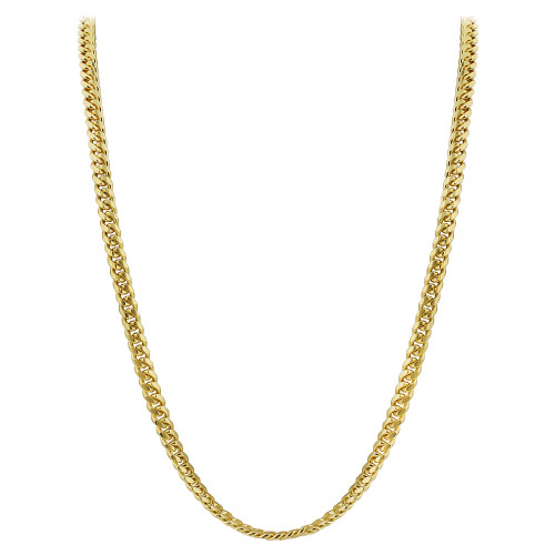 Gold Plated Italian 925 Sterling Silver Vermeil 4mm Curb/Cuban Chain Necklace
