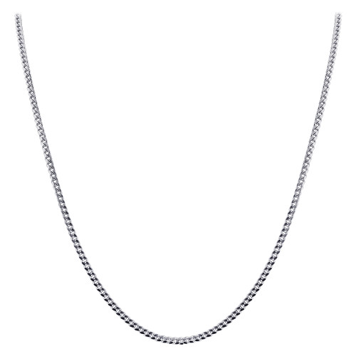 925 Sterling Silver with Rhodium Plating 2mm Curb/Cuban Chain Necklace