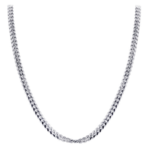925 Sterling Silver with Rhodium Plating 3mm Curb/Cuban Chain Necklace