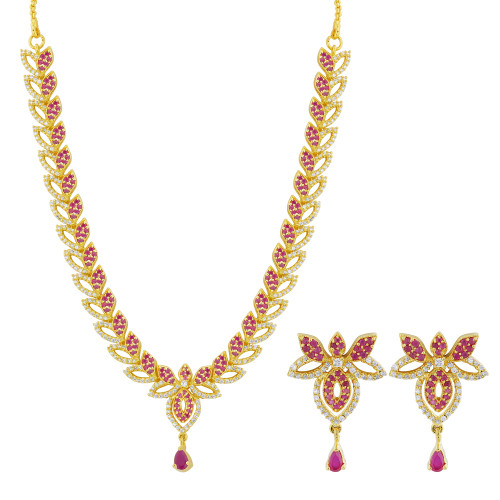 Gold Plated Simulated Ruby and Clear Stone Flower Necklace Earrings Set