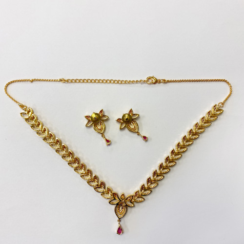 Gold Plated Simulated Ruby Set