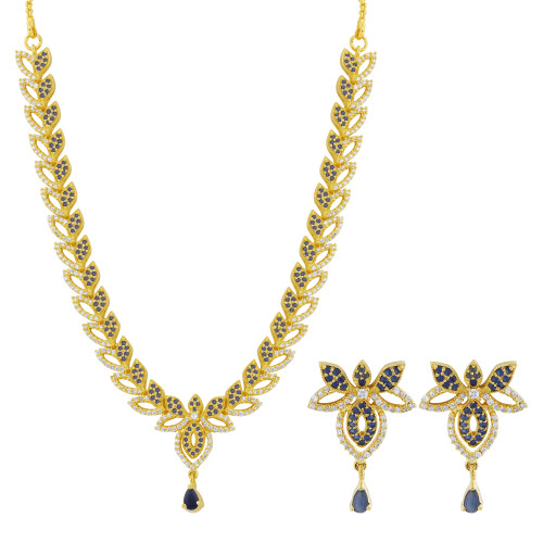 Gold Plated Simulated Sapphire and Clear Stone Necklace Earrings Set