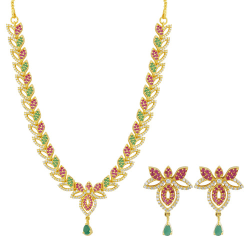 Gold Plated Simulated Emerald and Ruby Stone Necklace Earrings Set