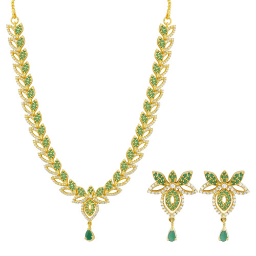 Indian Party Wear Gold Plated Necklace Earrings Set with Simulated Emerald and Clear CZ Stone