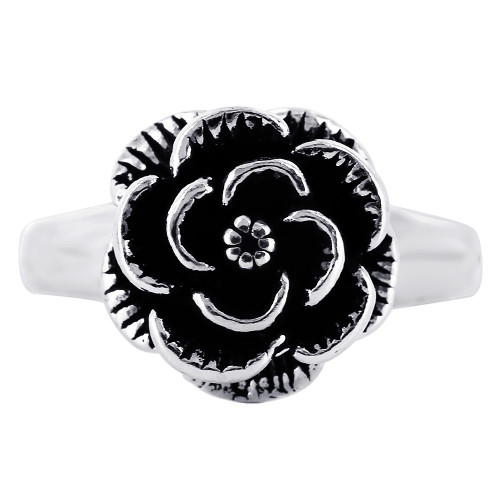 Sterling Silver Oxidized Rose Ring