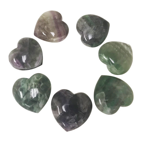 45mm Fluorite Gemstone Puff Hearts Purse Pocket Collectible Palm Stones