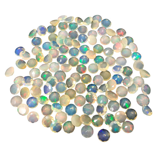 6mm Round Shape Faceted Ethiopian Opal Gemstone