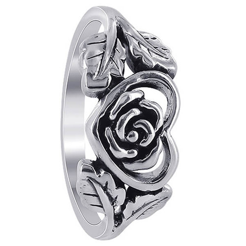 925 Sterling Silver Heart with Rose and Leaves Ring