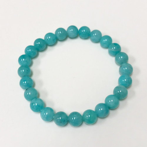 8mm Amazonite Gemstone Stretch Bracelet Unisex One Size Fits All