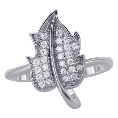 Sterling Silver Micro Pave Leaf Ring