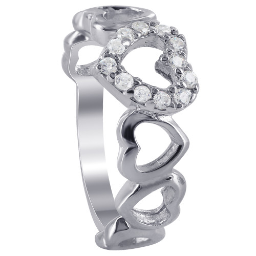 925 Silver Prong Set Cubic Zirconia Open Heart Links Ring