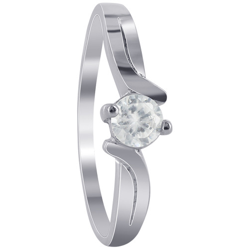 925 Sterling Silver Simple Clear Cubic Zirconia Ring