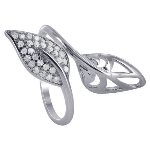 925 Sterling Silver wide Double Leaf Cubic Zirconia Ring